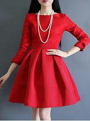 Round-Neck-Plain-Blend-Evening-Dresses