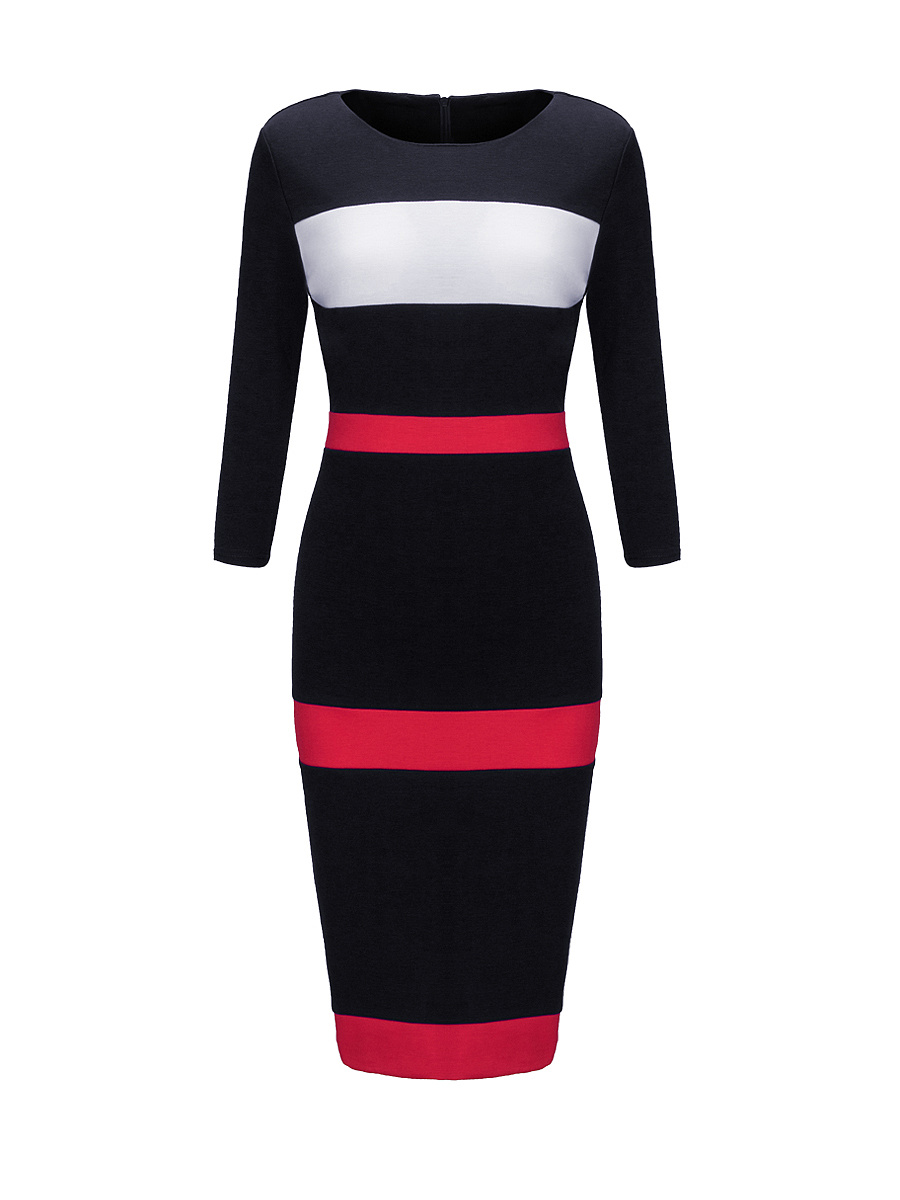 Round Neck Slit Color Block Striped Bodycon Dress