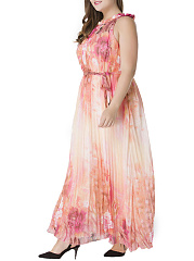 Floral Printed  Chiffon Pleated Plus Size  Maxi Dress
