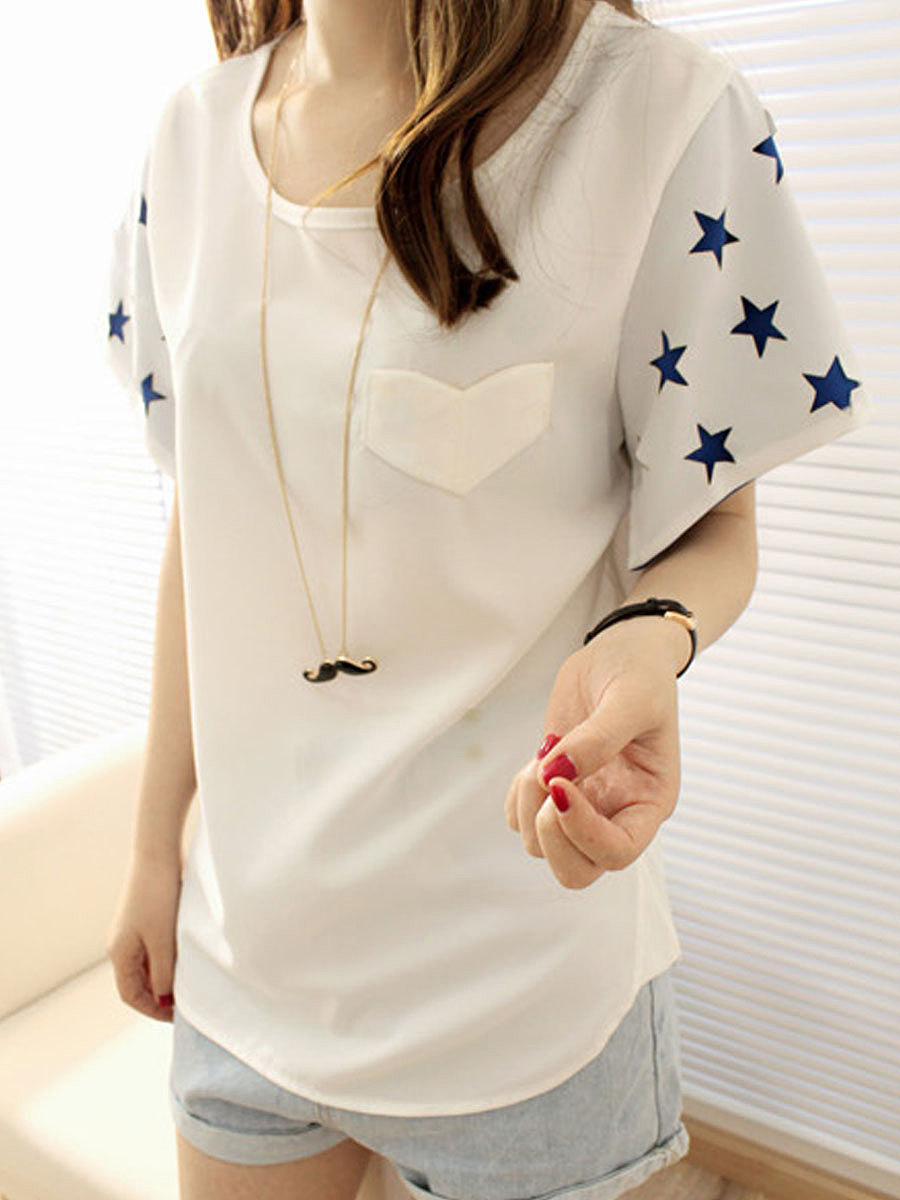 Summer  Polyester  Women  Round Neck  Patch Pocket  Star Short Sleeve T-Shirts