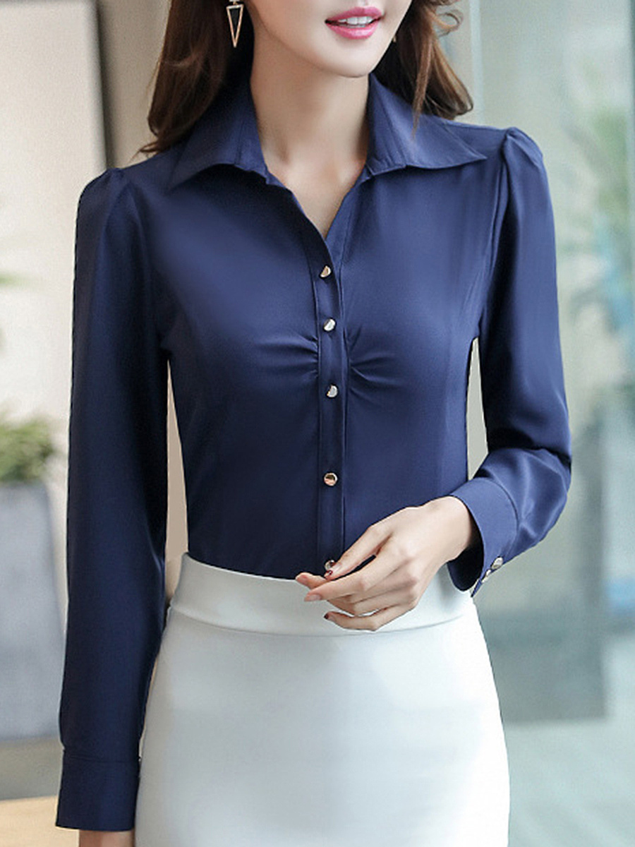 Solid Turn Down Collar Blouse