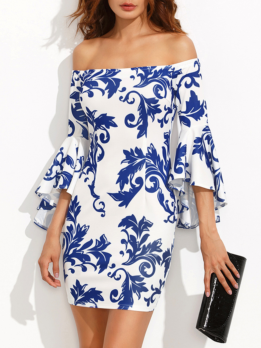 Off Shoulder Blue And White Porcelain Printed Bell Sleeve Bodycon Dress