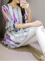 Round Neck  Drawstring  Printed  Bell Sleeve  Half Sleeve Blouses