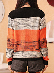 Round Neck  Color Block Striped Sweater