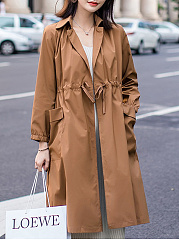 Lapel  Elastic Waist  Plain  Long Sleeve Trench Coats