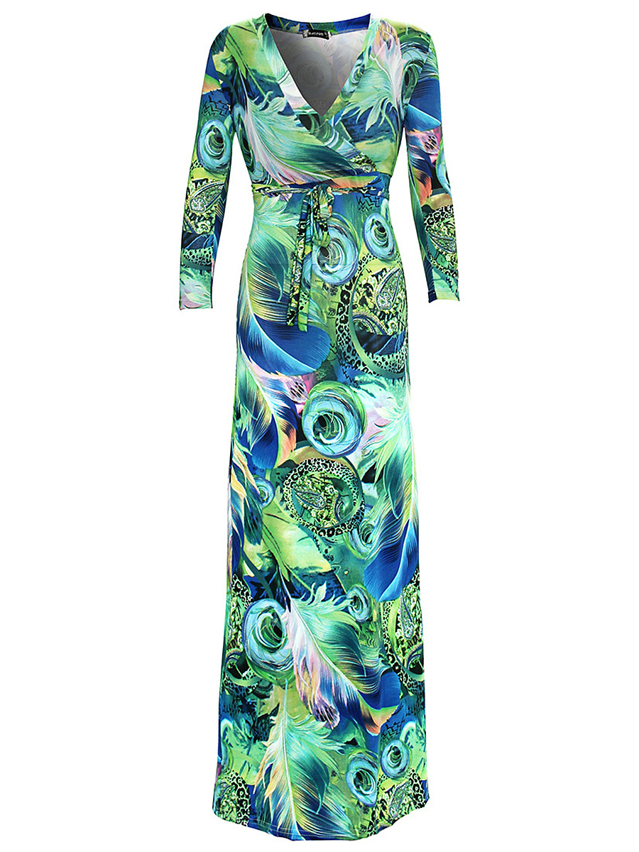 V-Neck Abstract Print Tropical Maxi Dress