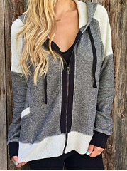 Hooded  Zips  Color Block  Long Sleeve Hoodies