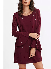 Round Neck  Beading  Plain Shift Dress