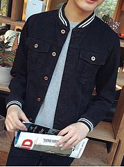 Denim-Striped-Band-Collar-Flap-Pocket-Men-Jacket