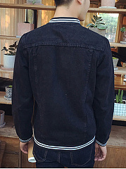 Denim Striped Band Collar Flap Pocket Men Jacket