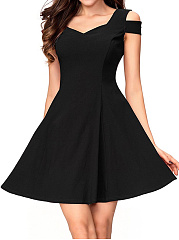 Sexy Open Shoulder Plain Skater Dress