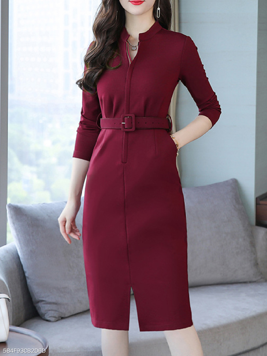 Band Collar  Plain Bodycon Dress
