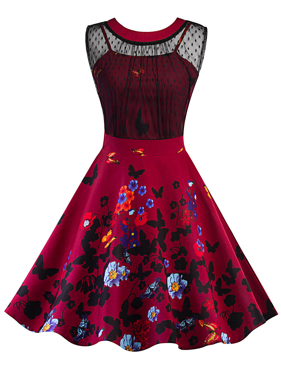 Vintage Floral Printed See-Through Skater Dress