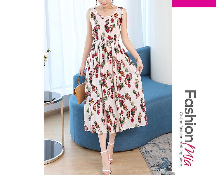 Round Neck  Elastic Waist  Striped Maxi Dresses