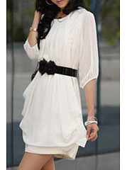 Women Solid Chiffon Round Neck Shift Dress