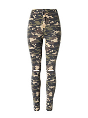 Camouflage Ripped Slim-Leg  High-Rise Jeans