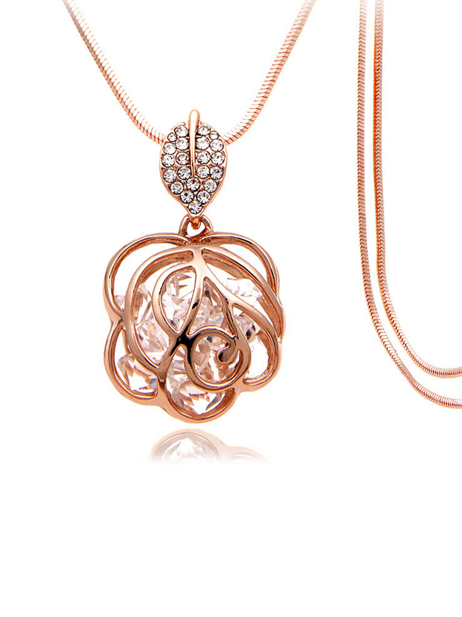 Hollow Out Rose Rhinestone Long Necklace