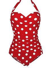 Backless  High Stretch  Polka Dot One Piece For Women