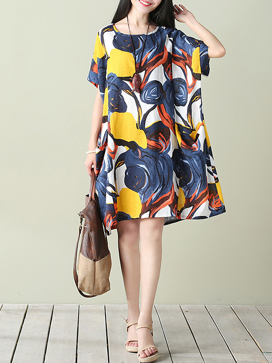 Oversized Round Neck Abstract Print Pocket Shift Dress