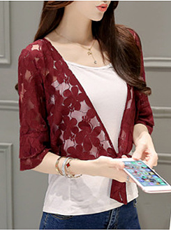 Collarless  See-Through  Floral Plain  Half Sleeve Cardigans