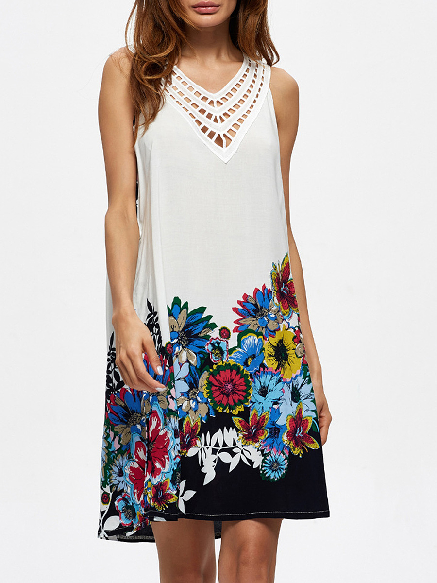 V-Neck Floral Printed Hollow Out Shift Dress