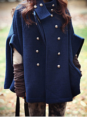 High Neck Double Breasted Pocket Plain Woolen Cape