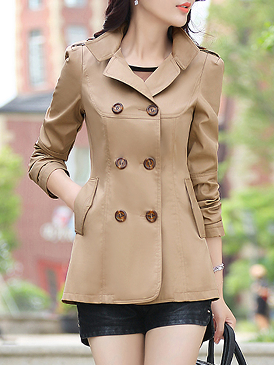 Lapel Double Breasted Flap Pocket Plain Trench Coat