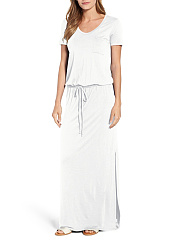Round Neck  Drawstring Patch Pocket  Plain Maxi Dress