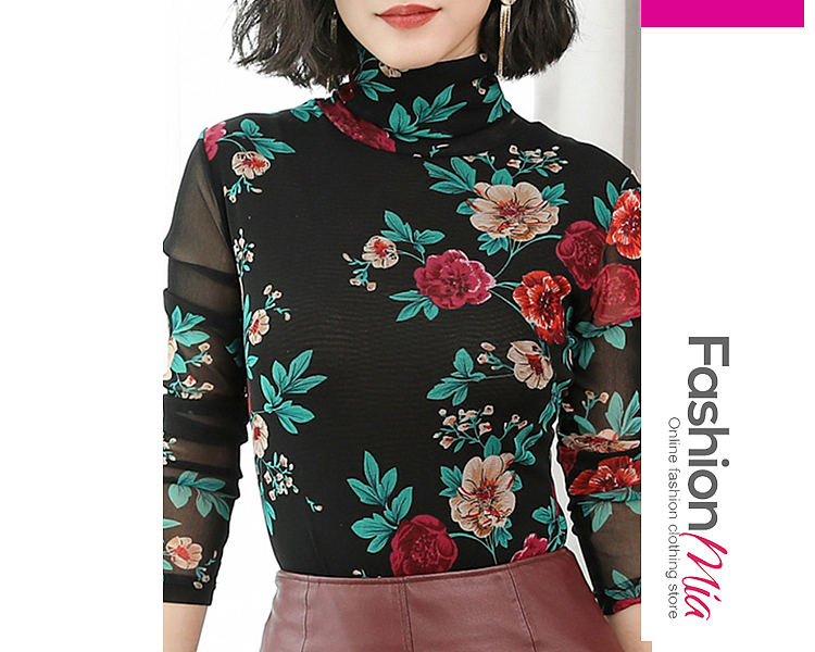 Image of High Neck Floral Long Sleeve T-Shirts