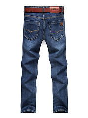 Patch Pocket Light Wash Straight Men's Jeans