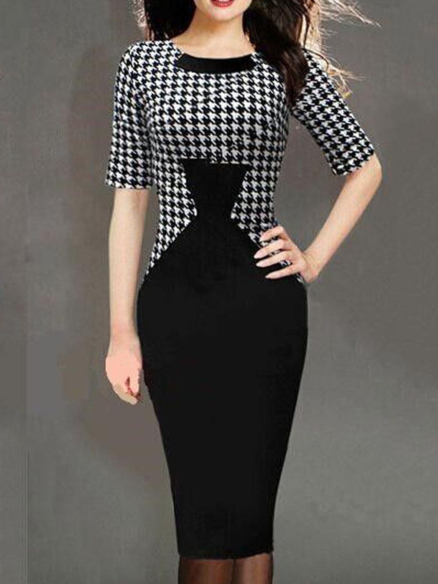 Round Neck Houndstooth Bodycon Dress - fashionMia.com