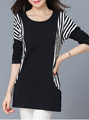 Autumn-Spring-Polyester-Women-Round-Neck-Patchwork-Striped-Long-Sleeve-T-Shirts