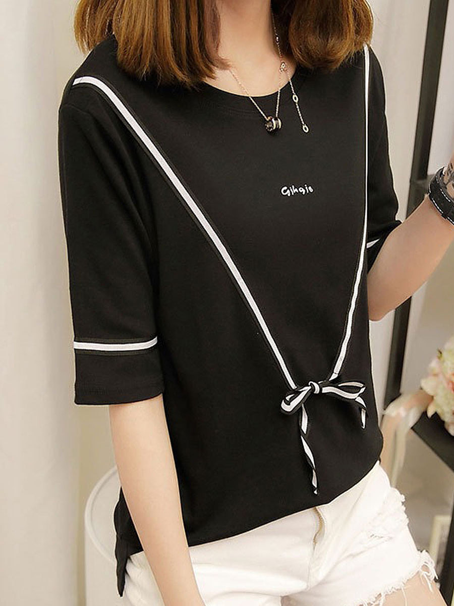Spring Summer  Polyester  Women  Round Neck  Bowknot Patchwork  Plain  Half Sleeve Short Sleeve T-Shirts
