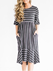 Round Neck Striped Bell Sleeve Skater Dress