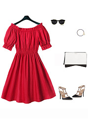 Off Shoulder Elastic Waist Plain Skater Dress