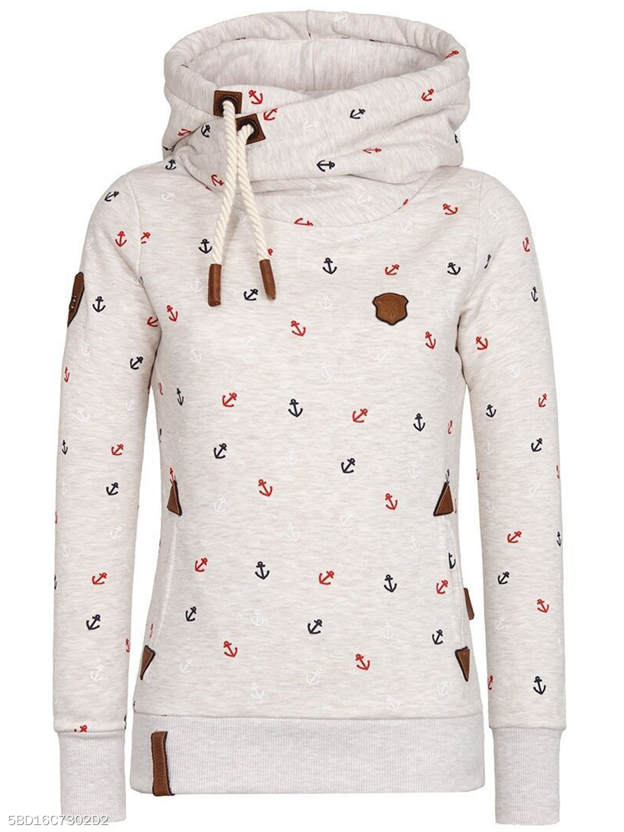 Allover Anchor Printed Drawstring Pocket Hoodie