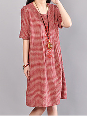 Round Neck  Embroidery Printed Shift Dress