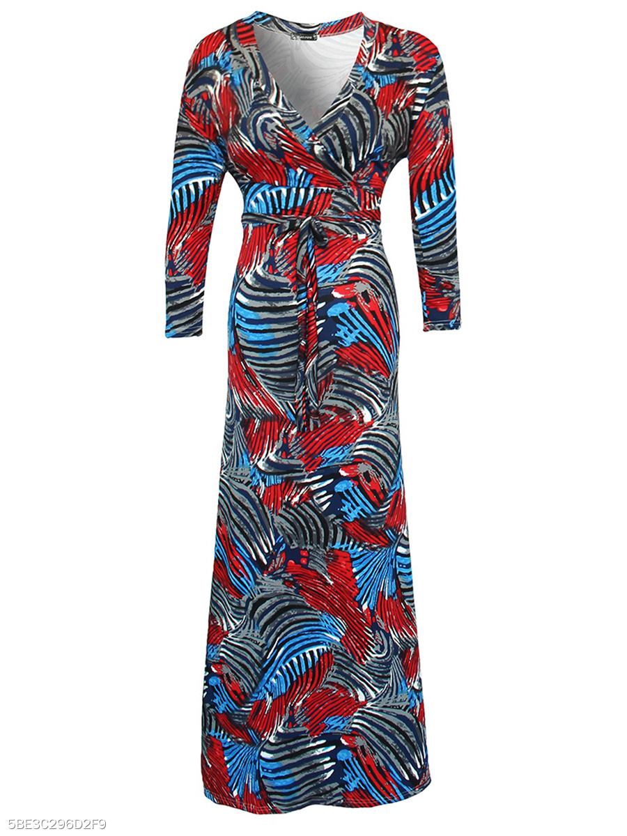 V-Neck Abstract Print Glamorous Maxi Dress