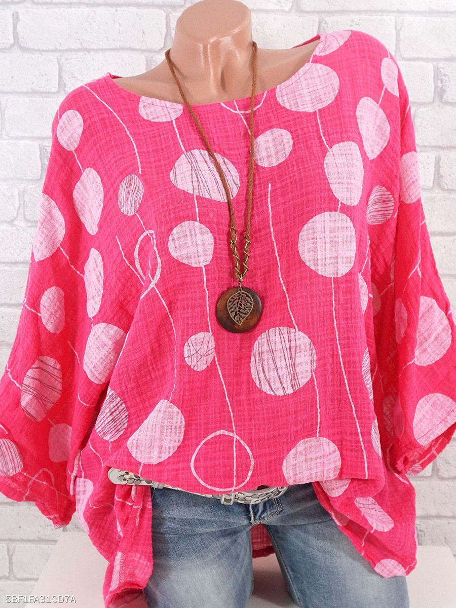 Autumn Spring  Women  Polka Dot  Three-Quarter Sleeve Blouses