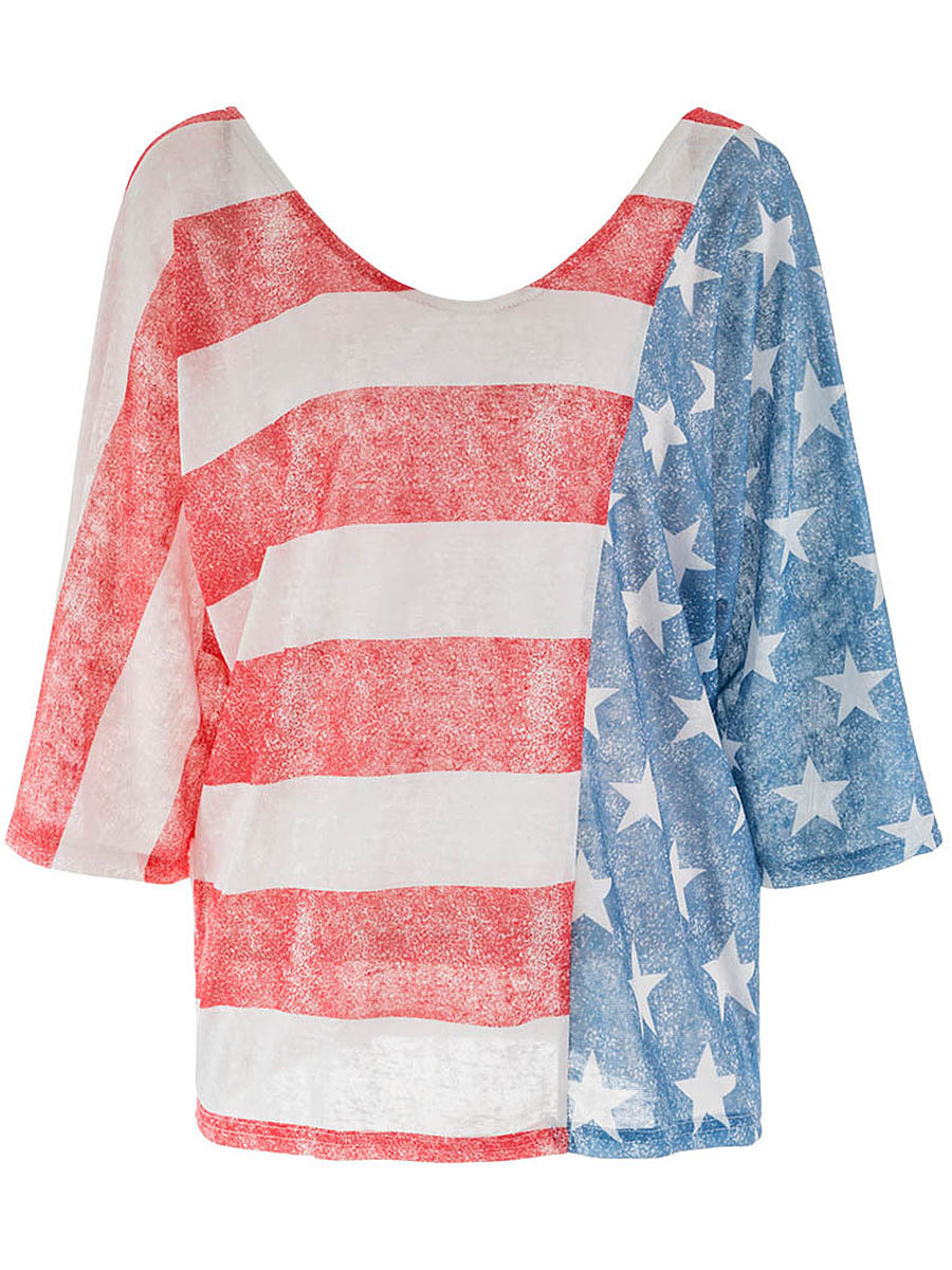Round Neck US Flag Printed Batwing Sleeve T-Shirt