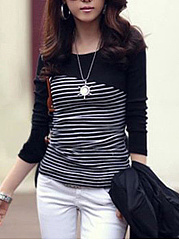 Round Neck Striped Long Sleeve T-Shirt