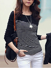 Round-Neck-Striped-Long-Sleeve-T-Shirt
