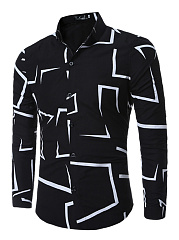 Turn Down Collar  Contrast Piping  Printed  Cuffed Sleeve  Long Sleeve Long Sleeves