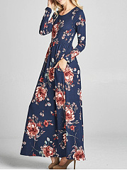 Round Neck Floral Printed Pocket Maxi Dress