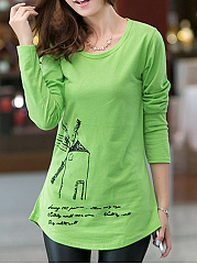 Autumn Spring  Cotton  Women  Round Neck  Asymmetric Hem  Letters Printed Long Sleeve T-Shirts