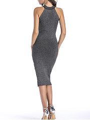 Halter  Plain  Blend Bodycon Dress