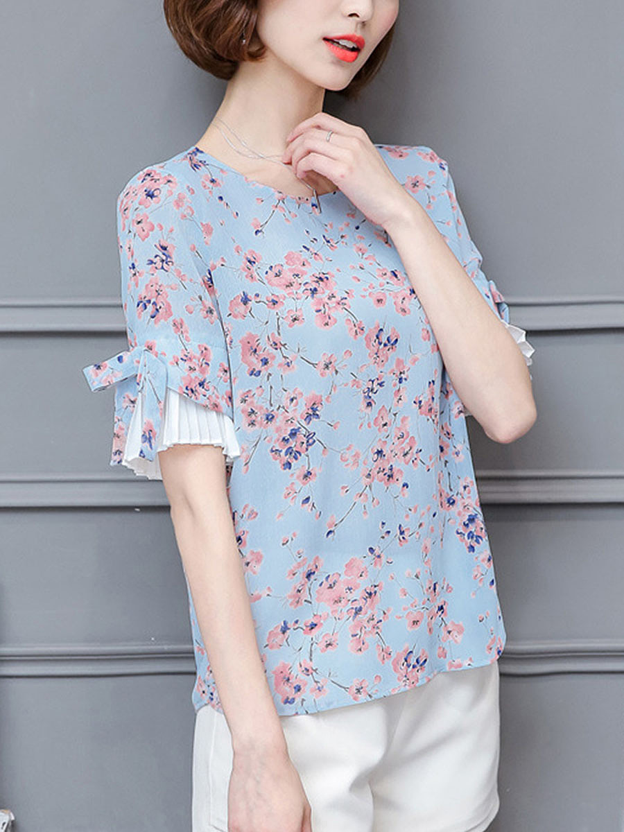 Round Neck  Floral  Bell Sleeve Chiffon Blouse