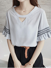 Summer  Cotton  Women  Round Neck  Cascading Ruffles  Plain  Half Sleeve Short Sleeve T-Shirts