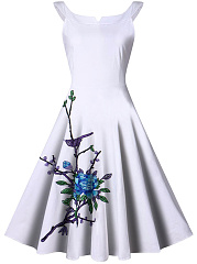 Summer-Split-Neck-Embroidery-Applique-Skater-Dress