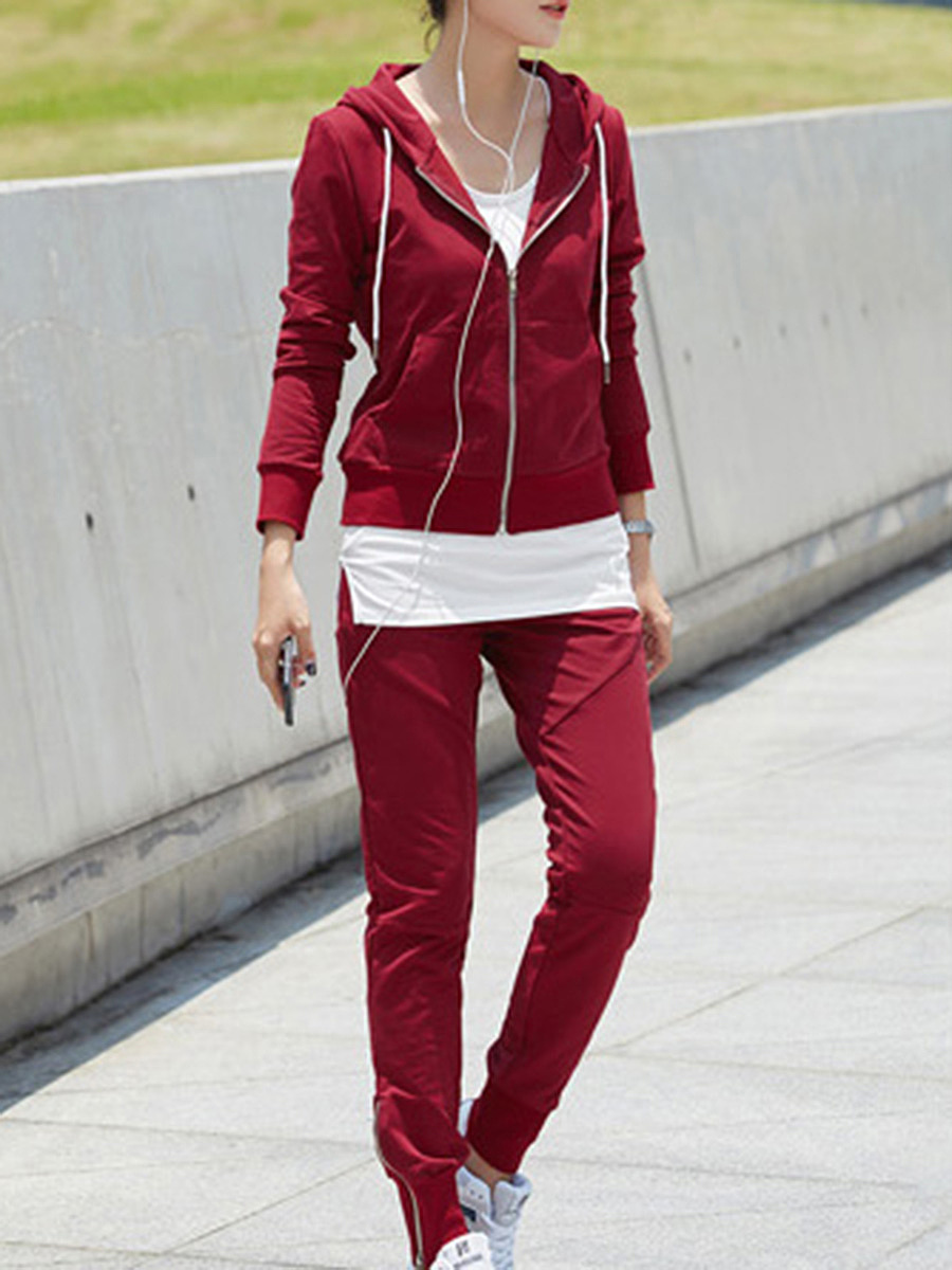 Sport Hooded Slim-Leg Three-Piece Suits